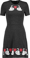 Markus Lupfer Embroidered cotton and wool-blend stretch-jersey mini dress