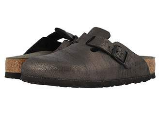 Birkenstock Boston (Washed Metallic Antique Black Leather) Women's Clog Shoes