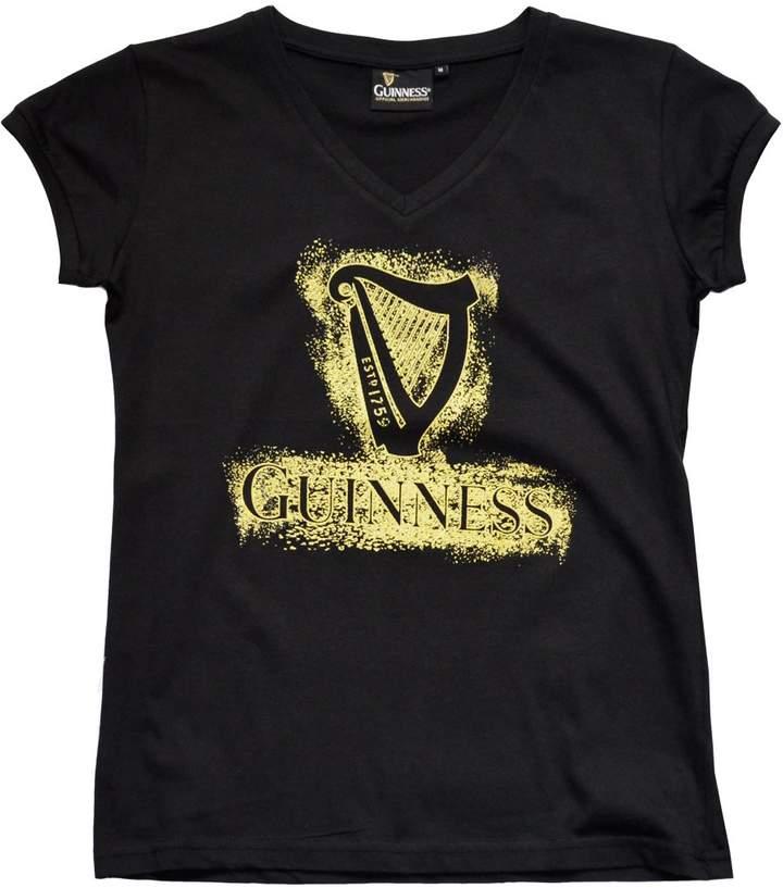 Guinness Official Merchandise Ladies Harp Designed T-Shirt With Gold Sparkles, Colour