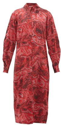 Ganni Snake-print Silk-blend Satin Midi Dress - Red Multi