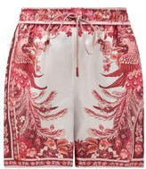 Zimmermann Wavelength Floral-print Silk Shorts - Womens - Pink Print