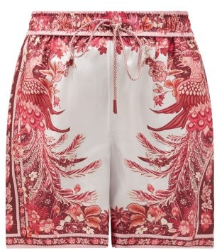 Zimmermann Wavelength Floral-print Silk Shorts - Womens - Pink Print