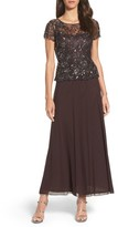 Pisarro Nights Women's Beaded Mesh Mock Two-Piece Gown