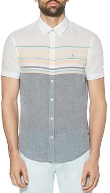 Original Penguin Cotton-Blend Color-Blocked Engineered Stripe Slim Fit Button-Down Shirt