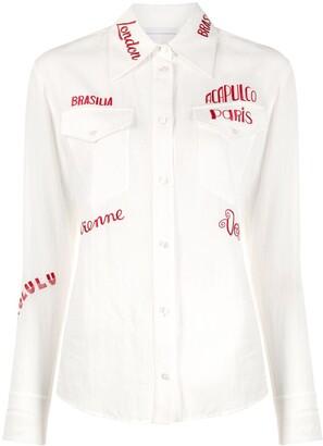 Victoria Victoria Beckham City-Embroidered Long-Sleeve Shirt