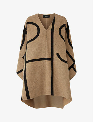 Joseph Ciela logo wool and cashmere-blend coat