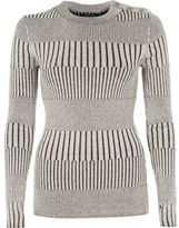 River Island Womens Light grey ribbed button detail top