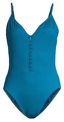Gottex Swim Rib-Knit Bodice V-Neck One-Piece Swimsuit