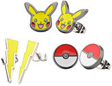 Pokemon Pikachu, Lightning Bolt & Pokeball Earring Set