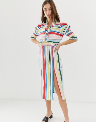 Vero Moda Stripe Midi Dress With Side Splits