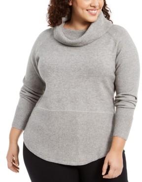 Belldini Plus Size Cowl-Neck Mixed-Stitch Sweater
