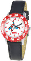 Marvel Spiderman Time Teacher Kids Black Leather Strap Watch