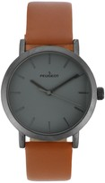 Peugeot Men's Stainless Steel Round Case & Leather Strap Watc