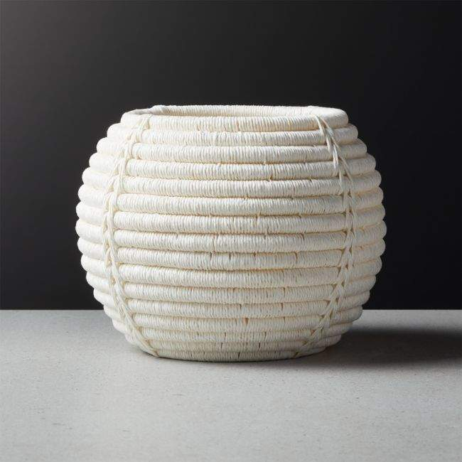 Cb2 Rimini Ivory Basket Planter