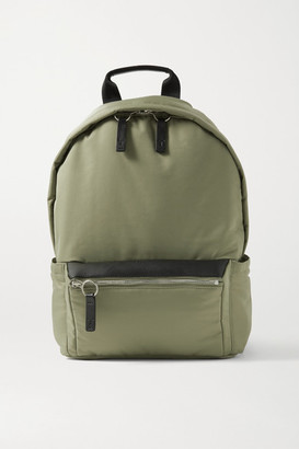 Transience - Flight Leather-trimmed Shell Backpack - Army green