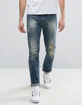 Asos Stretch Slim Jeans With Rips In Mid Wash
