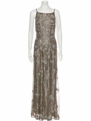 Naeem Khan Lace Pattern Long Dress Metallic