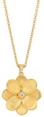Marco Bicego Petali 18K Yellow Gold & Diamond Flower Pendant Long Necklace