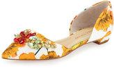 Ivanka Trump Trika Jeweled Floral d'Orsay Flat, Yellow