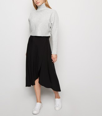New Look Petite Wrap Midi Skirt