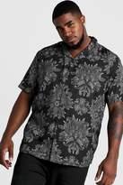 BoohoomanBoohooMAN Mens Black Big & Tall Paisley Print Revere Collar Shirt, Black