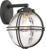 "Minka Lavery Rond Outdoor Wall Mount - Black/Crackle 8.5""W x 10""D x 8.75""H"