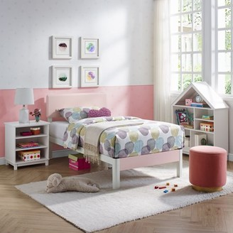 Modern Sleep Polina Wood Slat and White Metal Platform Bed Frame with Solid Wood Pink Headboard | Mattress Foundation, Twin