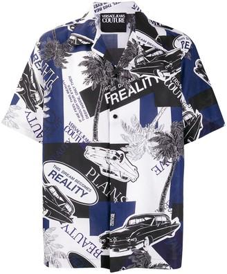 Versace Short Sleeve Palm And Car Print Shirt