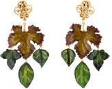 Dolce & Gabbana Lacquered Leaf Chandelier Earrings
