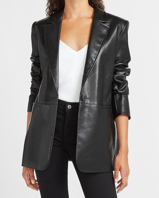 Express Vegan Leather One Button Long Sleeve Blazer
