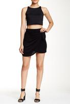 Hip Knit Faux Wrap Tie Front Mini Skirt