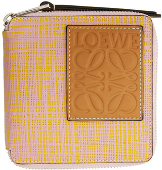 Loewe Pink and Yellow Square Zip Wallet