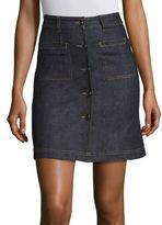 Carven Cotton Blend Button Front Skirt