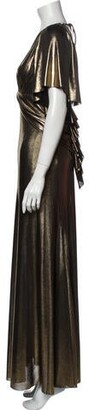 Maria Lucia Hohan V-Neck Long Dress w/ Tags Gold