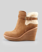 UGG Suede Wedge Shearling Bootie, Chestnut