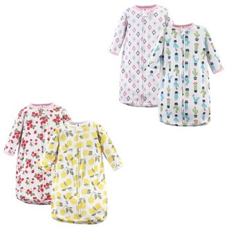 Hudson Baby Boy or Girl Long Sleeve Sleeping Bag, 4 Pack, Fruit and Cactus