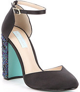 Betsey Johnson Blue by Sybil Satin Bead & Sequin Block Heel Pumps
