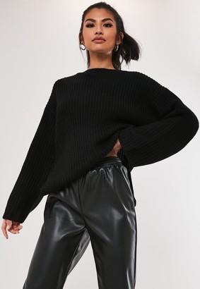 Missguided Black Rib Side Split Long Knitted Jumper