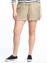 "Old Navy Mid-Rise Plus-Size Linen-Blend Shorts (5"")"