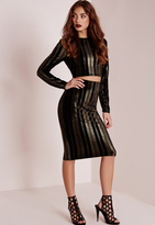 Missguided Velvet Gold Stripe Midi Skirt Black