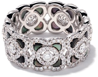 De Beers 18kt white gold Enchanted Lotus Mother-of-Pearl and diamond ring