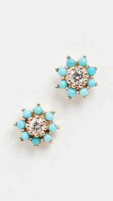 Adina Reyter Tiny Turquoise and Diamond Flower Earrings