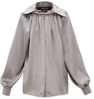 Balenciaga Ring Collared Silk Satin Blouse - Womens - Grey