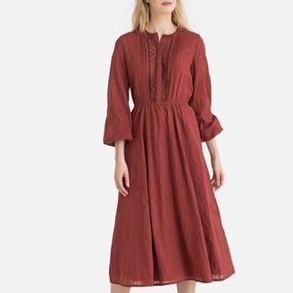 La Redoute Collections Openwork Embroidered Boho Cotton Midi Dress