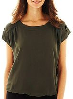 JCPenney a.n.a® Tabbed-Sleeve Banded-Waist Blouse