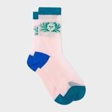 Paul Smith Women's Light Pink 'Crab' Motif Semi-Sheer Socks