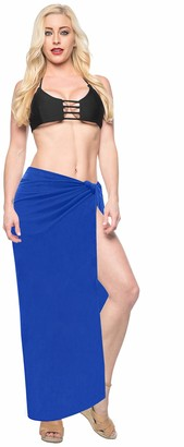 "LA LEELA Smooth Soft Rayon Beach Bikini Skirt Women Plus Size Pareo Wrap Swimsuit Skirt Sarong Yoga Mat Cover Up Blue_G155 88""X42"""