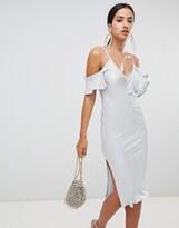 Rare London frill off shoulder midi dress