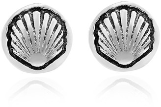 Aeravida Handmade Ocean's Treasure Scallop Seashells Sterling Silver Stud Earrings