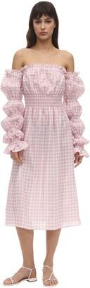 Sleeper Michelin Gingham Linen Midi Dress